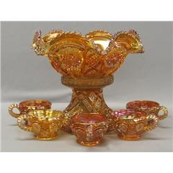 Carnival Glass Punch Bowl & Cups