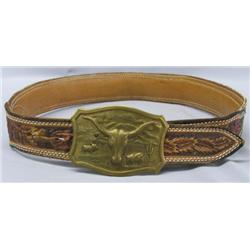 Snake Skin & Leather Belt With Cow Head Buckle