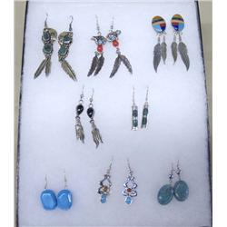 8pr Zuni Navajo Pierced Earrings