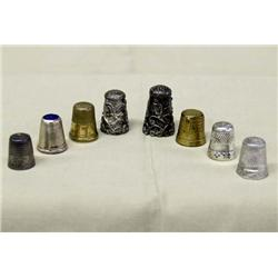 8 Antique Ladies Sewing Thimbles, some Silver