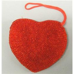 Red Beaded Heart Purse