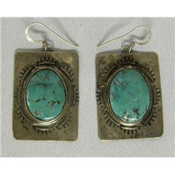 Silver Turquoise Pierced Earrings By Santa Fe Artist Stephen Fox