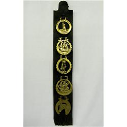 5 Vintage Horse Brasses On Leather Strap