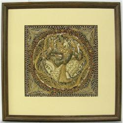 Framed India Shiva Fabric Art