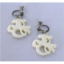 1950 Japanese Carved Ivory Screw on Earrings