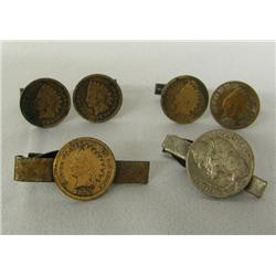 2 pr Indian Head Cent Cuff Links & Tie Clasp Plus