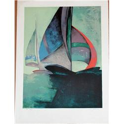 Claude Gaveau, Spinnaker, Signed Lithograph