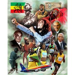 Artist: Wishum Gregory; Jamaica- Out of Many; Giclee; Bob Marley, Marcus Garvey; etc.
