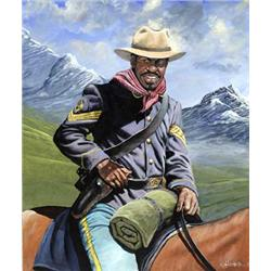 Artist: John W. Jones; Buffalo Soldier on Patrol