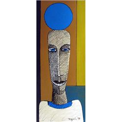 Artist: Temech; Untitled I (Blue Ball); Mixed Media on Board