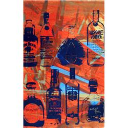 Artist: Bobby Hill; Alcohol Bottles (Hot); Mixed media on paper