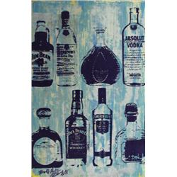 Artist: Bobby Hill; Alcohol Bottles (Cool I), Mixed media on paper