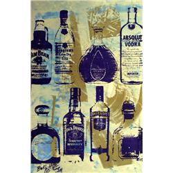 Artist: Bobby Hill; Alcohol Bottles (Gold I), Mixed media on paper