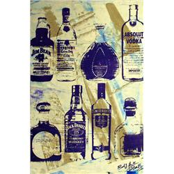Artist: Bobby Hill; Alcohol Bottles (Gold II), Mixed media on paper