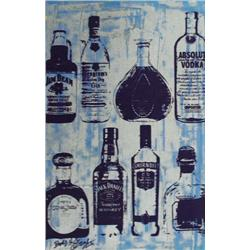 Artist: Bobby Hill; Alcohol Bottles (Cool II), Mixed media on paper