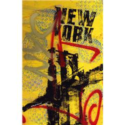 Artist: Bobby Hill; NYC (Yellow); Mixed media on paper