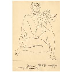 Pablo Picasso; Deux Contes (Faune Flutiste. II), 1947; Drypoint printed on Lana vellum paper