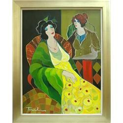 Itzchak Tarkay; Thinking of You; Acrylic on canvas; Framed; hand signed by the Artist