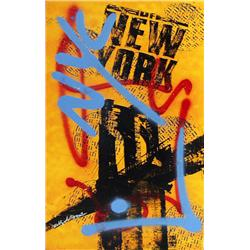Bobby Hill; NYC (Orange II); Mixed media on paper