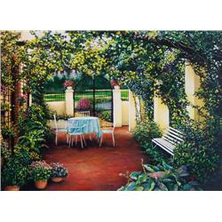 Artist: Laurie Brussel; Hidden Courtyard on Paper; Limited edition Giclee on paper
