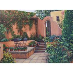 Artist: Laurie Brussel; Adobe Patio Small on Canvas; Limited edition giclee on canvas