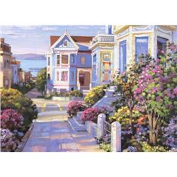 Artist: Howard Behrens; Grove Street San Francisco; Limited edition hand serigraph on canvas