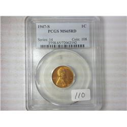 1947-S Lincoln Cent PCGS MS65 RD