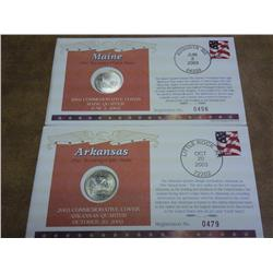 2-50 State Quarter FDC's With Coins (AR And ME)