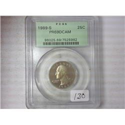 1989-S Washington Quarter PCGS PR69DCAM