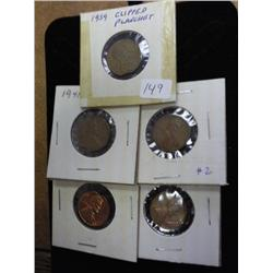 5 Clipped Planchet Lincoln Cents