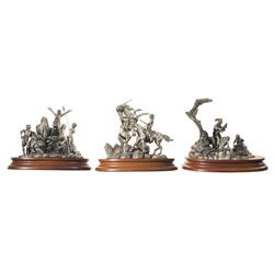 Three Don Polland Pewter Statues