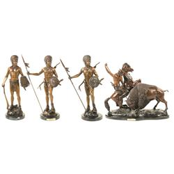 Three Indian Chief Bronzes and Buffalo Hunt by Charles M. Russell