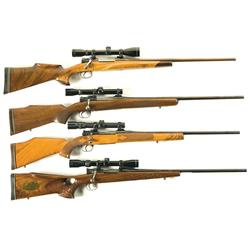 Four Sporterized Bolt Action Rifles -A) Mauser Kar-98 Bolt Action Sporter Rifle with Scope  B) Germa