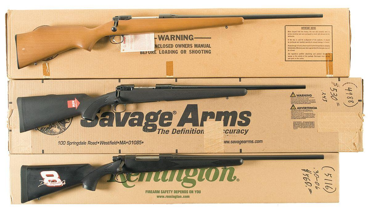 three boxed bolt action rifles a savage model 110 e bolt action rh icollector com Winchester Model 70 Savage Model 110 Parts Catalog