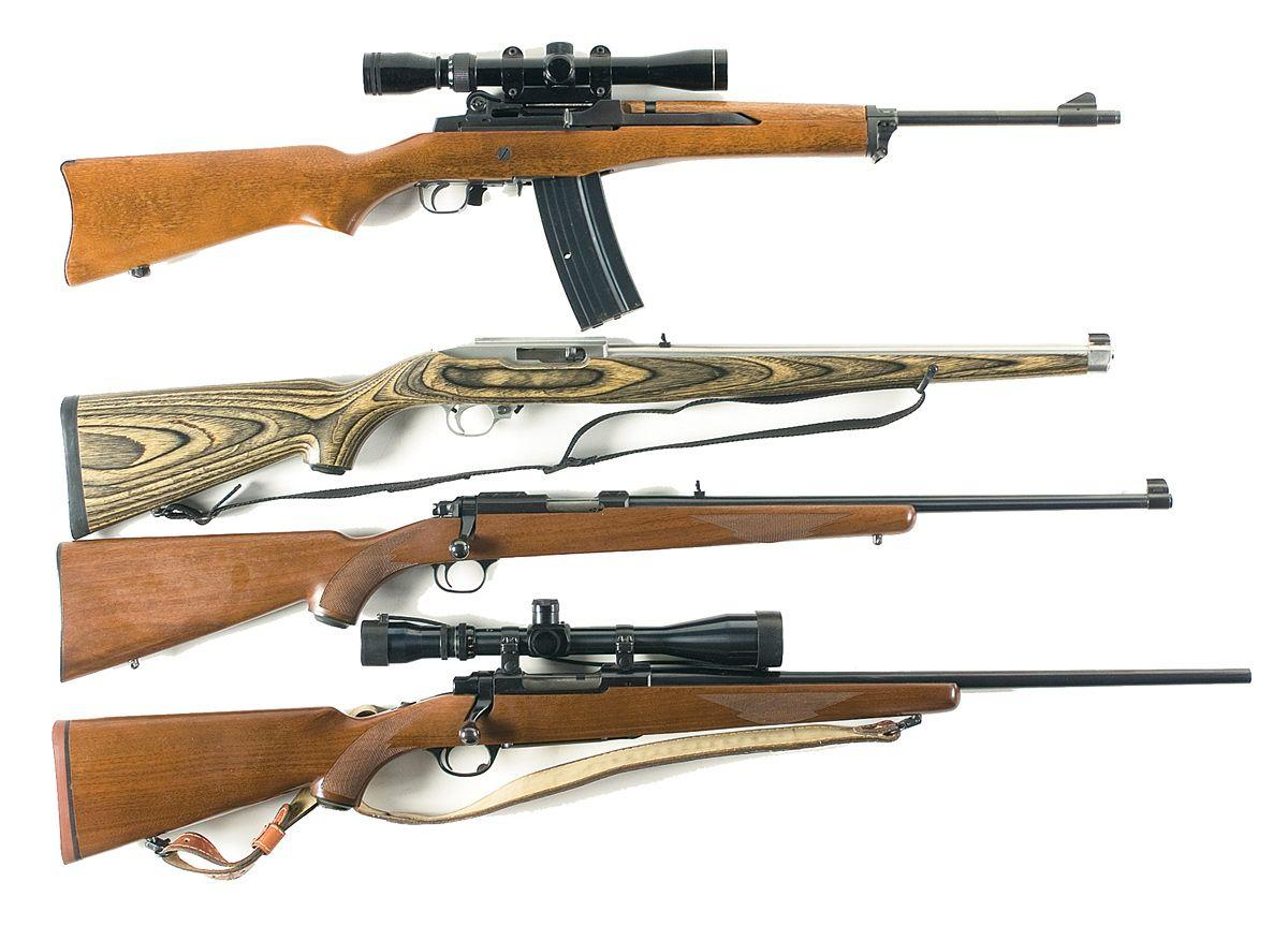 four ruger long guns a ruger mini 14 ranch semi automatic rifle