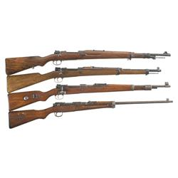 Four Bolt-Action Rifles -A) Spanish M43 Bolt-Action Rifle  B) Spanish Mauser M1916 Short Bolt-Action