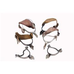 Collection of Three Pair of Spurs Including two California style spurs, one with leather spur straps