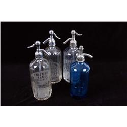 Collection of Four Antique Seltzer Bottles Including a Country Club Beverage Co etched glass from Va