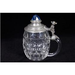 "German Glass Beer Stein Marked .45 L with pewter lid, inlayed with blue ""Birthstone"", 7""H, crown mar"
