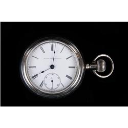 "Elgin ""GM Wheeler"" Pocket Watch Made 1884, SN:1766238, silver case, size 18, lever set. In working c"
