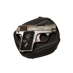 Colt Baby Model Cal .25acp SN:166581 Single action semi auto pocket pistol. Blued finish, black hard