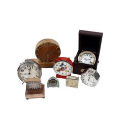 Collection of Eight Small Clocks Including an original Westclox alarm clock made by Western Clock Co