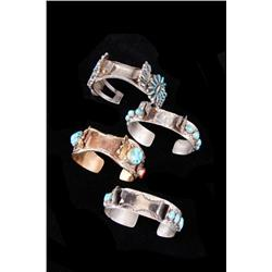 Collection of Four Cuff Watchbands all with turquoise, all old pawn, one is signed  S/U  and one is