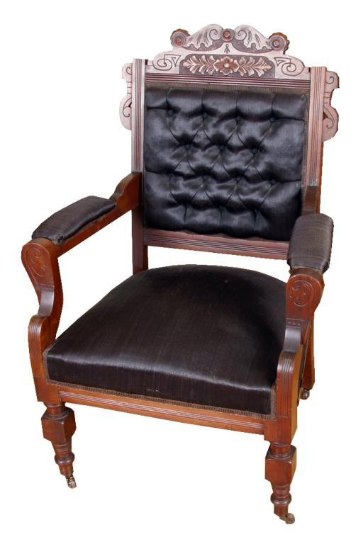 Image 1 : Eastlake Victorian Occasional Chair With Black Button Back Sateen  Upholstery, On