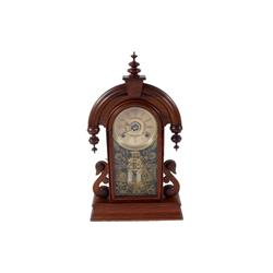 Early American Kitchen Mantle Clock mahogany with glass front door that has a painted gold peacock a