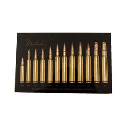 Weatherby Bullet Board Samples of 12 Weatherby rifle cartridges in an acrylic block with black backg
