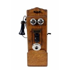 Andrae & Sons Oak Telephone in restored condition, complete with magnetos; missing mouthpiece.in res