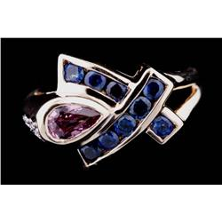 Beautiful 10K Yellow Gold Ladies Ring designer bezel set with pin Tourmaline, channel set Sapphires