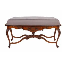 Antique Oak Entryway Table with French style carving and center drawer. In overall good condition wi