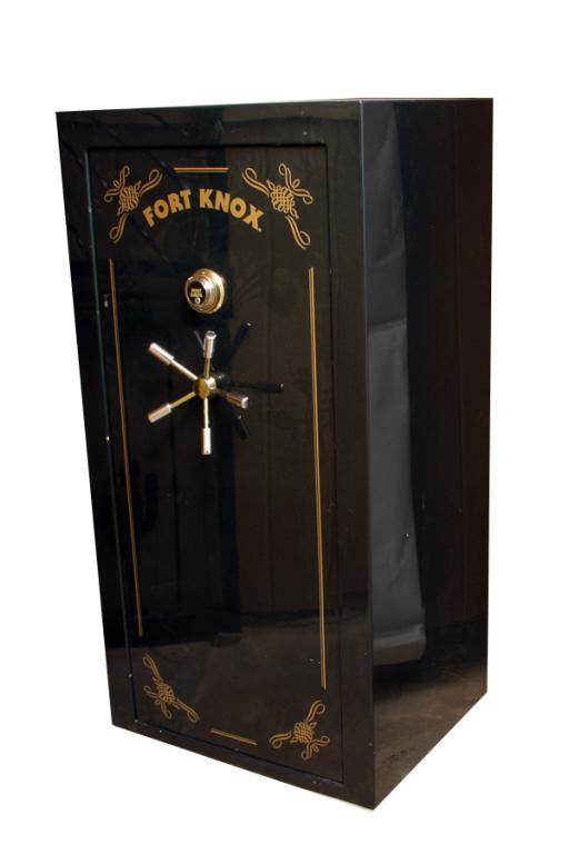 "Black Gun Safe In Living Room Decor: Fort Knox Gun Safe In Black. Measures 60""H X 31""L X 24 1/2"